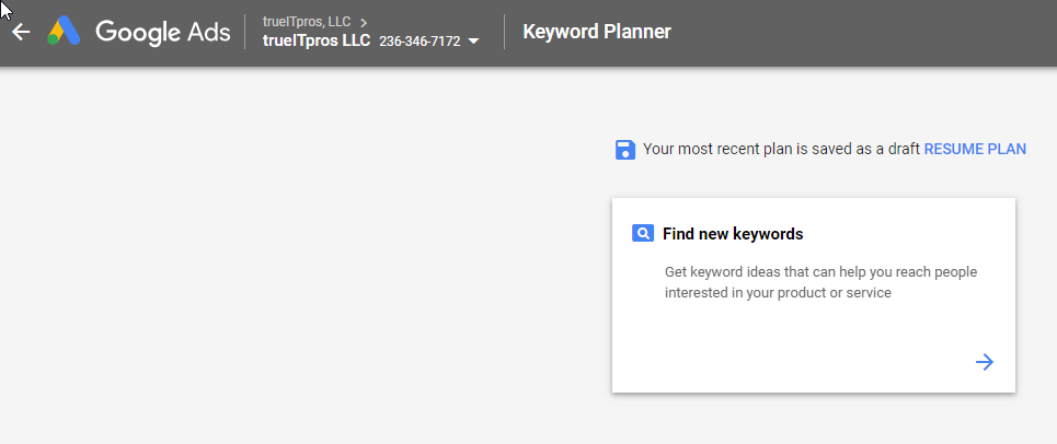 keyword planner screen capture Google Ads