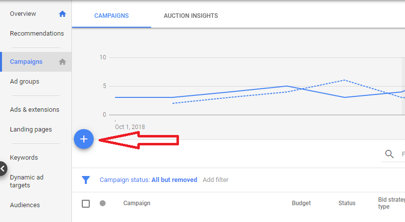 google ad new campaign creation screen